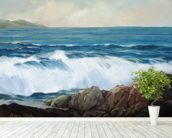 Wave Crashing On Rocky Shoreline mural wallpaper in-room view