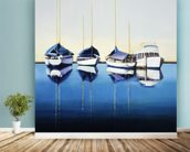 Yacht Harbor, Sailboats Docked In Harbor mural wallpaper in-room view
