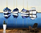 Yacht Harbor, Sailboats Docked In Harbor mural wallpaper kitchen preview