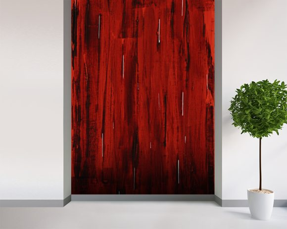 Rain - Abstract Painting In Red And Black wall mural room setting