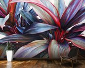 Ti In Blue, Colorful Ti-Leaf Plants mural wallpaper kitchen preview