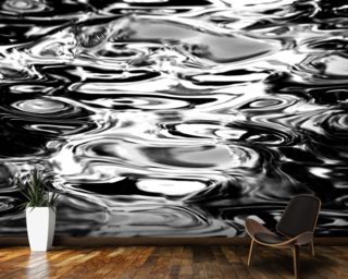 Abstract Water Reflection - Black And White wall mural