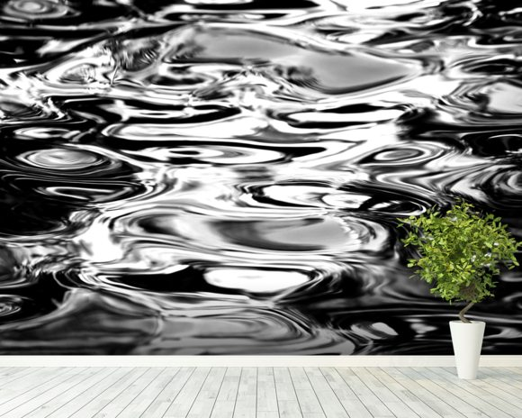Abstract Water Reflection - Black And White wall mural room setting
