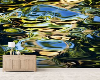 Abstract View Of Colorful Reflections On Calm Water wallpaper mural