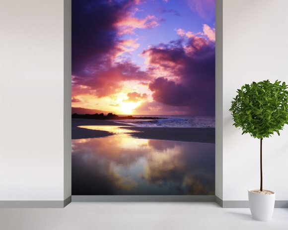 Beautiful Sunset - Oahu wallpaper mural room setting
