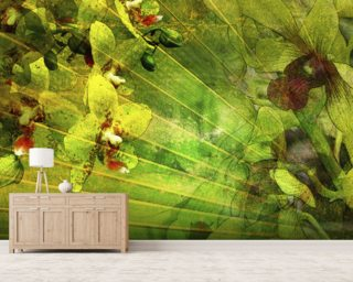 Allure 2, Collage Of Palm Leaf And Orchids mural wallpaper