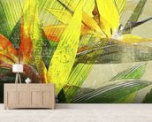 Bird Of Paradise Blossoms mural wallpaper living room preview