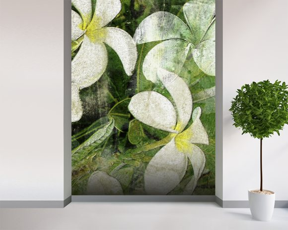 White Plumeria Blossoms wall mural room setting