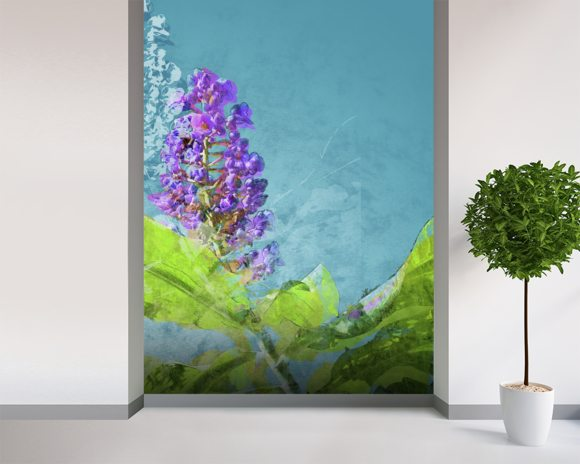 Midsummer - Purple Flowers wallpaper mural room setting