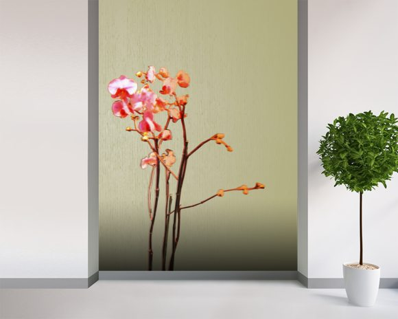 Amore Ii - Flowers On Beige wallpaper mural room setting