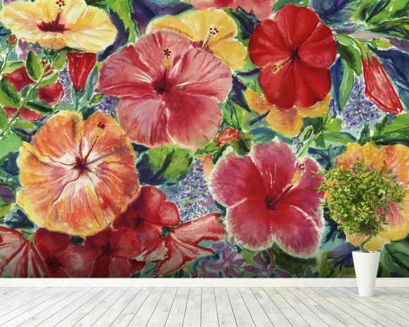 Floral Arrangement With Hibiscus Blossoms mural wallpaper room setting