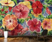 Floral Arrangement With Hibiscus Blossoms mural wallpaper kitchen preview