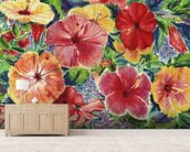 Floral Arrangement With Hibiscus Blossoms mural wallpaper living room preview