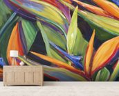 Dancing Birds - Bird Of Paradise Flowers wall mural living room preview
