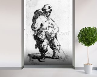 A man urinating, 1631 (eching) wallpaper mural