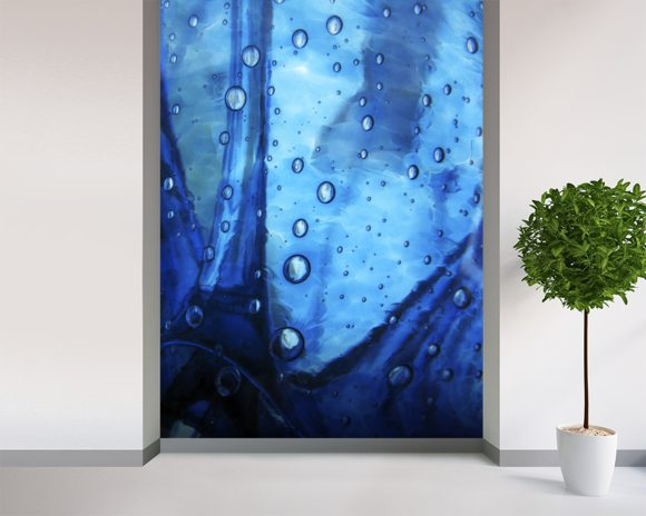 Extreme Close-Up Of Water Droplets On Blue Surface mural wallpaper room setting