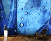 Extreme Close-Up Of Water Droplets On Blue Surface mural wallpaper kitchen preview