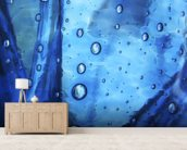 Extreme Close-Up Of Water Droplets On Blue Surface mural wallpaper living room preview