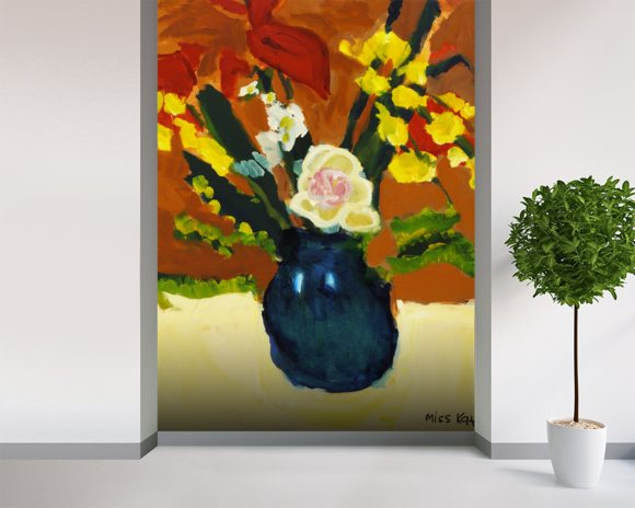 Colorful Flower Bouquet In Vase (Oil Painting) wallpaper mural room setting