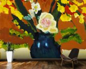 Colorful Flower Bouquet In Vase (Oil Painting) wallpaper mural kitchen preview