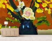 Colorful Flower Bouquet In Vase (Oil Painting) wallpaper mural living room preview
