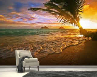Lanikai Beach at Sunrise, Hawaii Mural Wallpaper Wall Murals Wallpaper