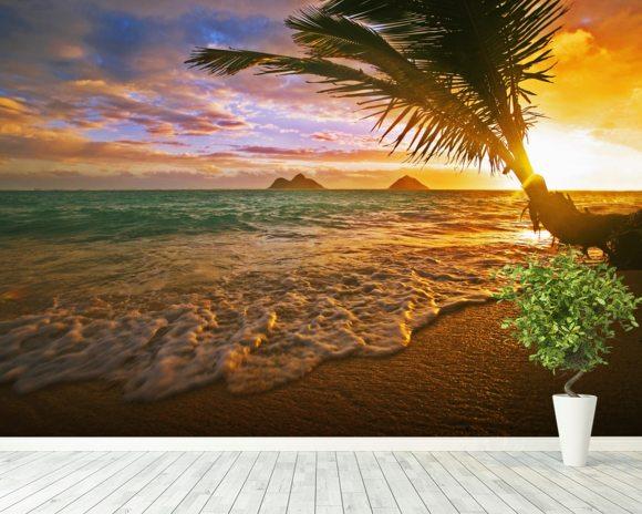 Lanikai Beach Sunrise Hawaii Wall Mural Wallpaper Room Setting Sunset