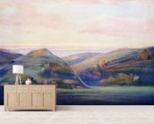 Mountains And Ocean At Sunset - C.1935, Hope Hayselden wallpaper mural living room preview