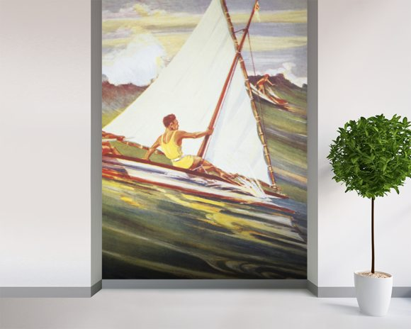 Man Windsurfing On Wave, C. 1921, Art By Gilles wall mural room setting