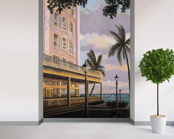 Moana At Sunset, Hawaii wallpaper mural room setting