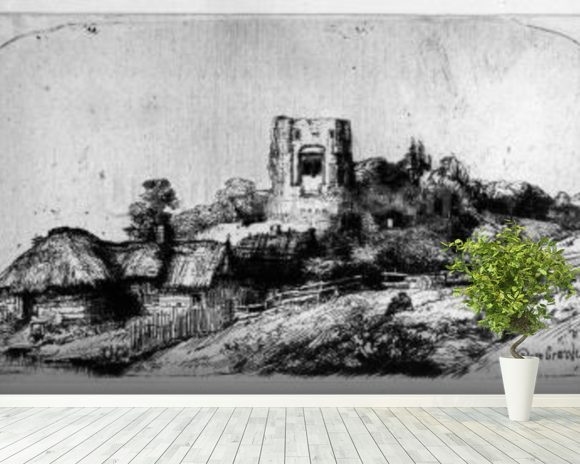 Landscape with a Tower, 1650 (etching) mural wallpaper room setting