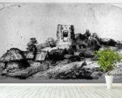 Landscape with a Tower, 1650 (etching) mural wallpaper in-room view