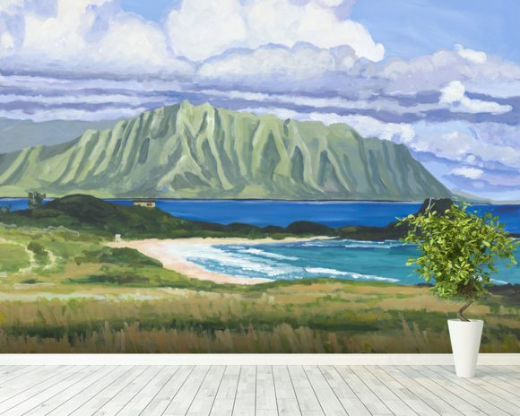 Pyramid Rock And Kualoa Point mural wallpaper room setting