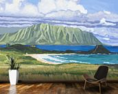 Pyramid Rock And Kualoa Point mural wallpaper kitchen preview