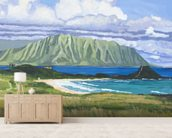 Pyramid Rock And Kualoa Point mural wallpaper living room preview