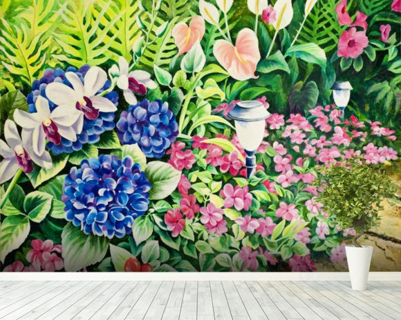 Beautiful Garden Of Flowers Along Stone Pathway wall mural room setting