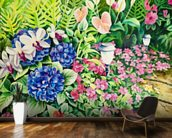 Beautiful Garden Of Flowers Along Stone Pathway wall mural kitchen preview