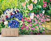 Beautiful Garden Of Flowers Along Stone Pathway wall mural living room preview