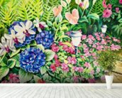 Beautiful Garden Of Flowers Along Stone Pathway wall mural in-room view