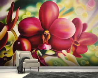 Beautiful Red Orchid Mural Wallpaper Wall Murals Wallpaper