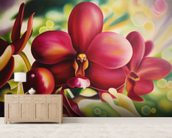 Beautiful Red Orchid mural wallpaper living room preview