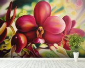 Beautiful Red Orchid mural wallpaper in-room view