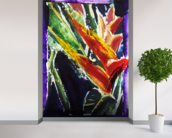 Heliconia - Batik On Rice Paper mural wallpaper in-room view