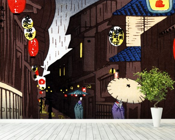 A Narrow City Street, Geisha With Parasols. wallpaper mural room setting
