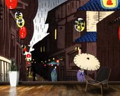 A Narrow City Street, Geisha With Parasols. wallpaper mural kitchen preview