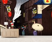 A Narrow City Street, Geisha With Parasols. wallpaper mural living room preview