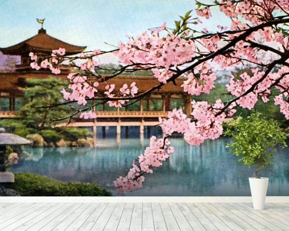 Lake With Cherry Blossoms And Shrine - Japan mural wallpaper room setting