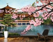Lake With Cherry Blossoms And Shrine - Japan mural wallpaper kitchen preview