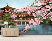 Lake With Cherry Blossoms And Shrine - Japan mural wallpaper living room preview