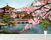 Lake With Cherry Blossoms And Shrine - Japan mural wallpaper in-room view